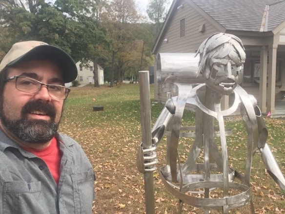 Selfie with the new hiker sculpture in Kent, CT