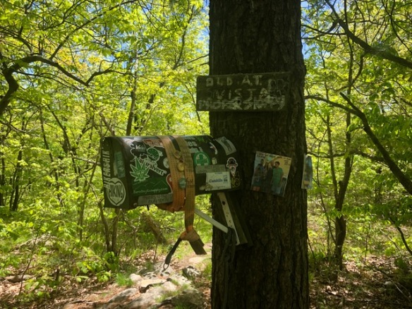 Trail magic box at Wawayanda Mtn summit